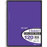 3 SUBJECT TOPFLIGHT NOTEBOOK (VARIOUS COLORS)