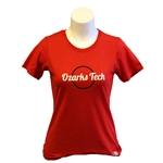 WOMENS RED ESSENTIAL TEE WITH GLITTERY LOGO