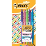 BIC SOFT FEEL RETRACTABLE PEN ASST. 5 PK