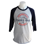 3/4 SLEEVE BASEBALL TEE IN GREY/NAVY