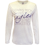 L/S Tee In Oatmeal Heather w/ Ozarks Tech Eagles Logo