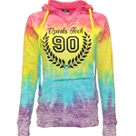 Courtney Burnout V-Notch Hoodie - Tie Dye