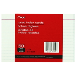 MEAD INDEX CARDS 4X6 100PK RULED